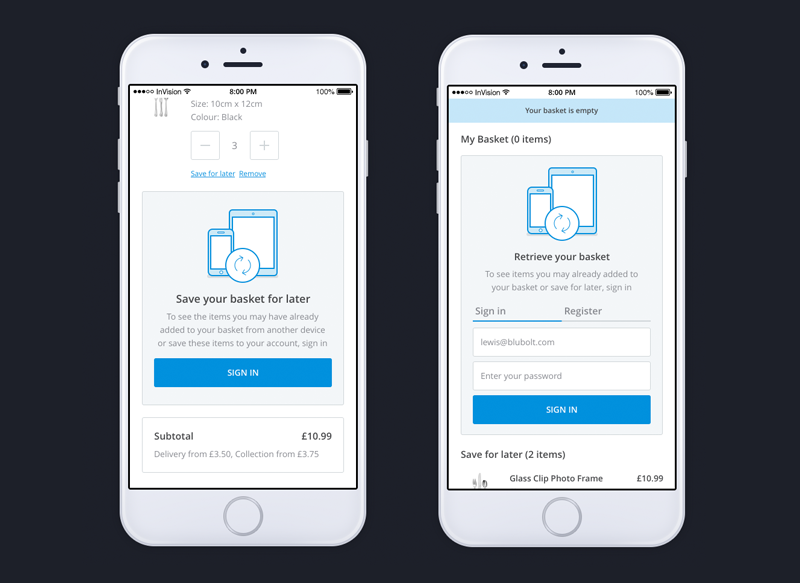 Image showing the persistent basket feature on bluCommerce, an extremely important mobile e-commerce feature for shoppers and retailers alike.
