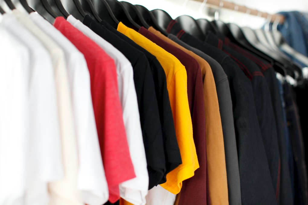 An image showing a clothes rail with the same item in a variety of colours. Being able to inspect an item thoroughly is an important aspect of user experience.