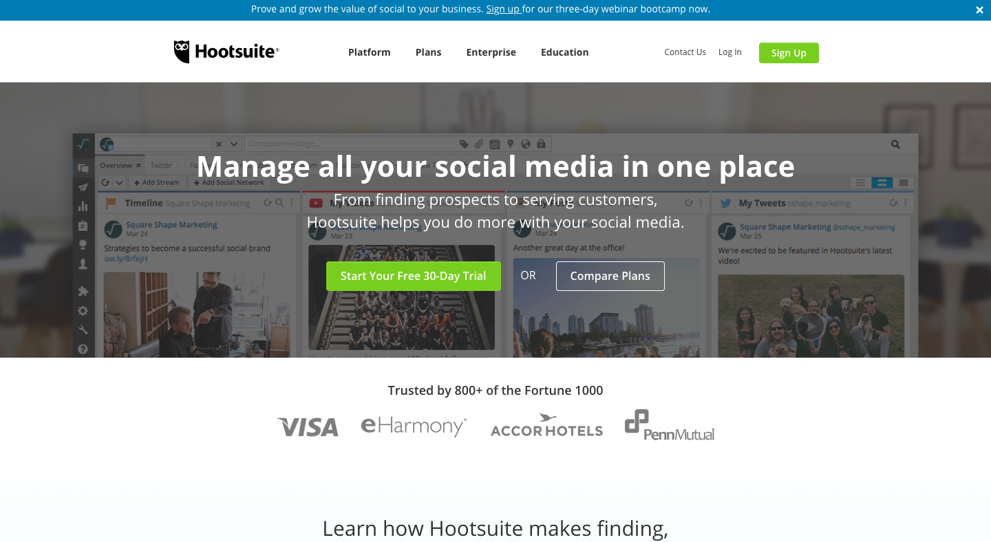 Image showing Hootsuite's home page, a very important e-commerce marketing tool specifically designed for managing social media.