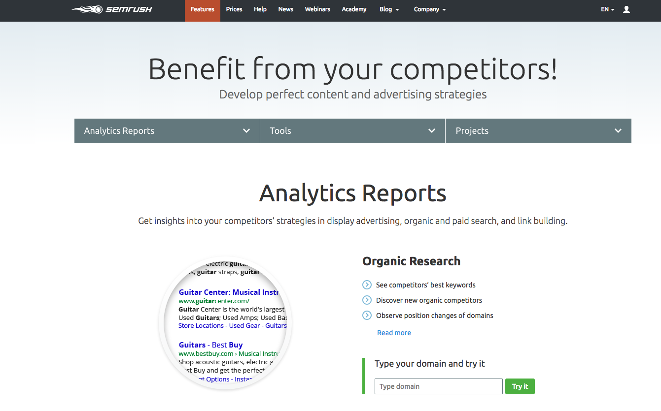 Image showing SEMrush homepage, a fantastic all-in-one e-commerce marketing tool.
