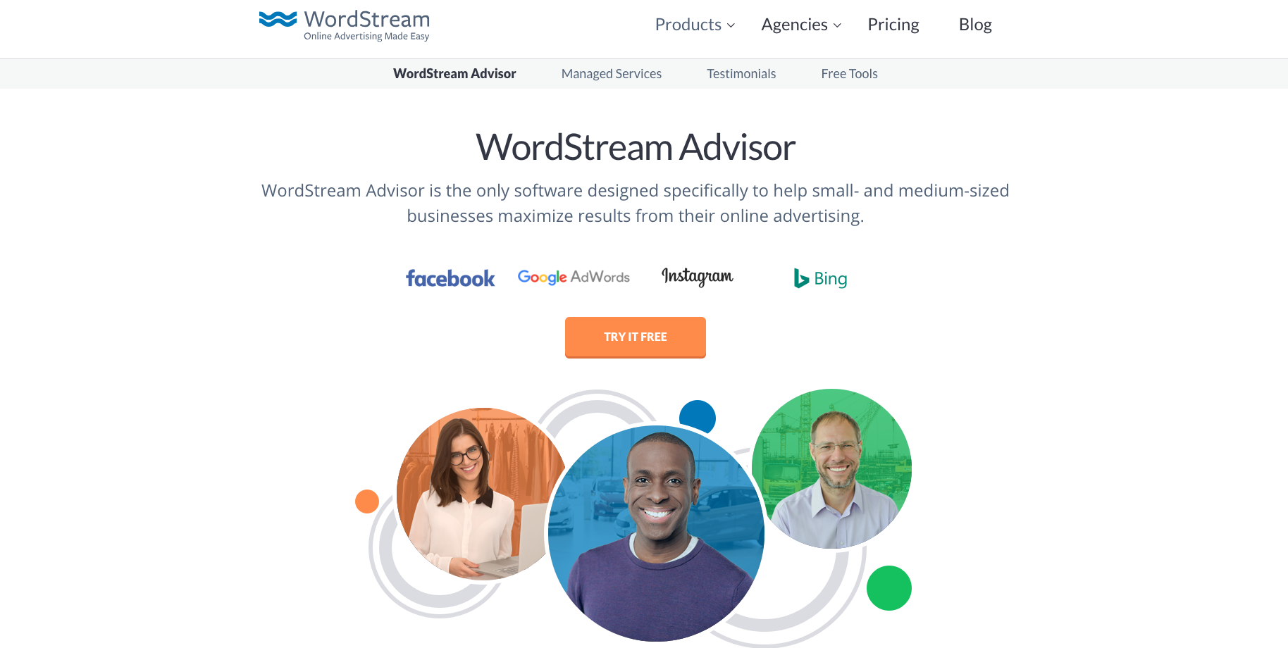 Image showing WordPressn advisor homepage, a very useful e-commerce marketing tool for managing your paid advertising accounts.