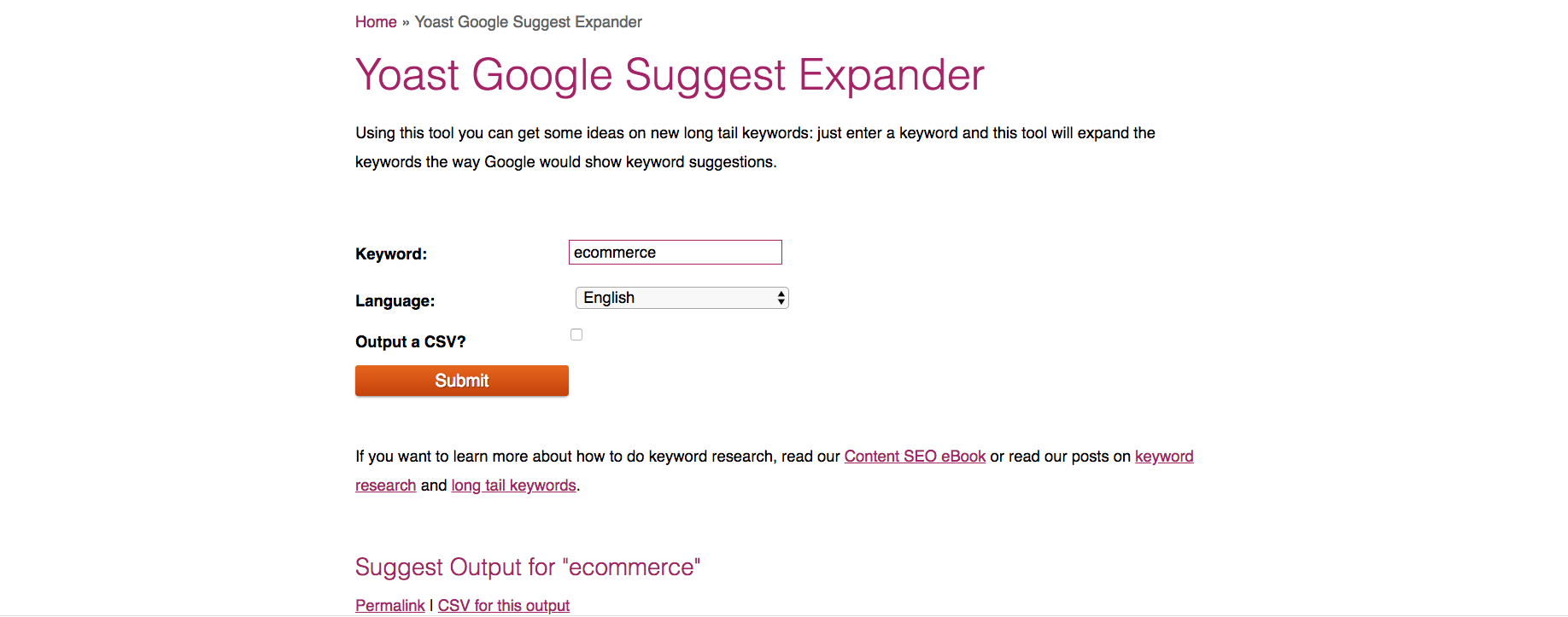 Image showing Yoast's Google Suggest Expander, an essential e-commerce marketing tool for more in-depth keyword research.