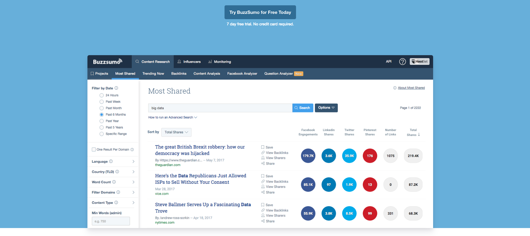 Image showing BuzzSumo's homepage, an essential e-commerce marketing tool specifically designed for content research.