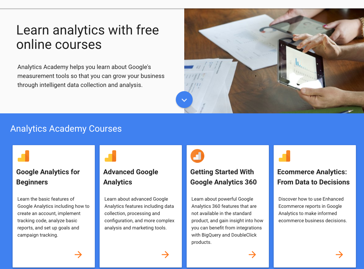 Image showing Google Analytics Academy course options, advised for e-commerce marketing teams.