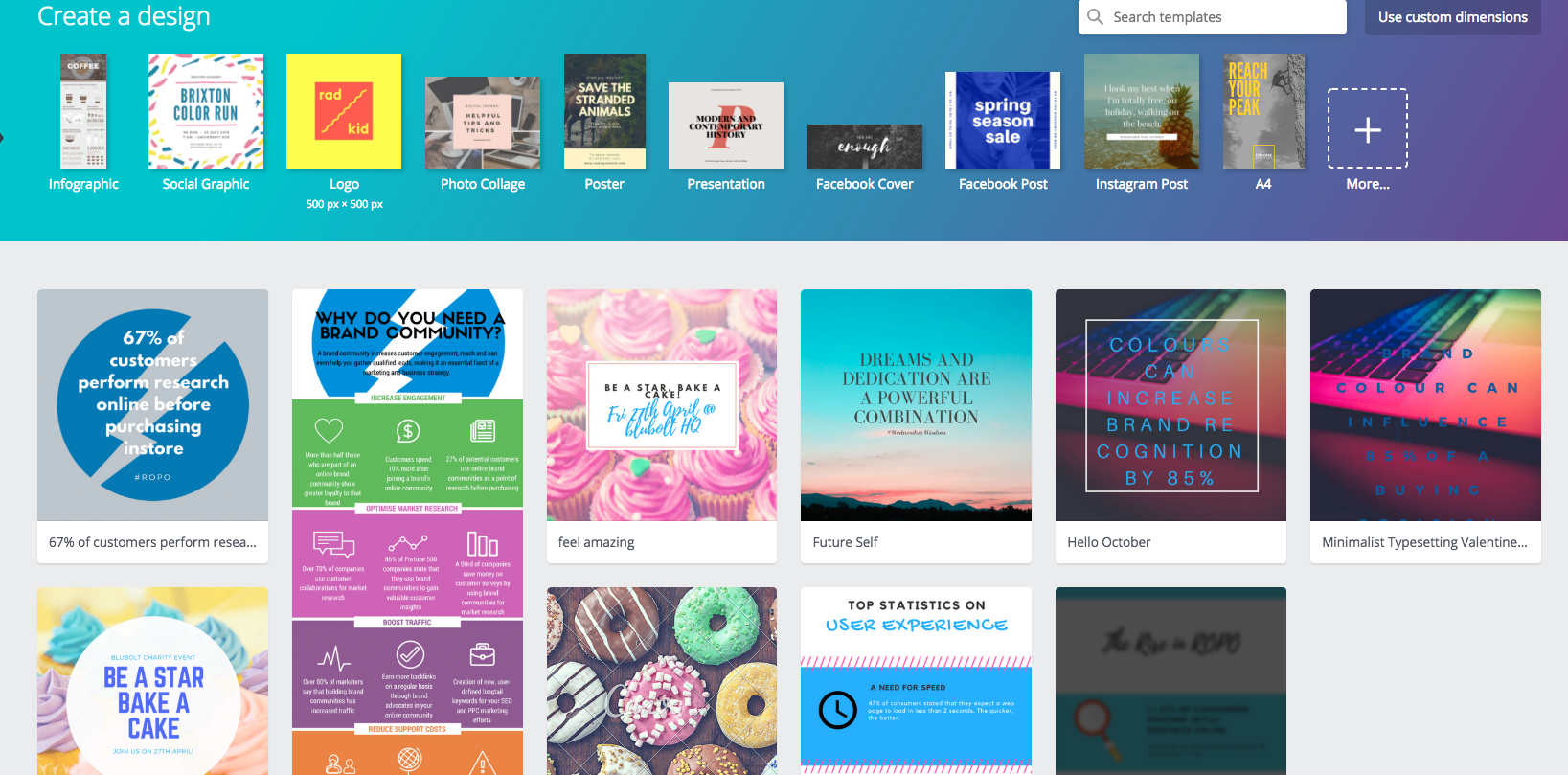 Image showing Canva home screen, a fantastic e-commerce marketing tool for designing custom graphics.