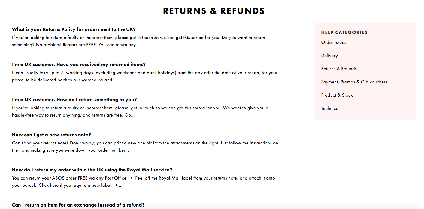 Image showing ASOS' returns FAQ section, an vital factor in the best returns policy you can have.