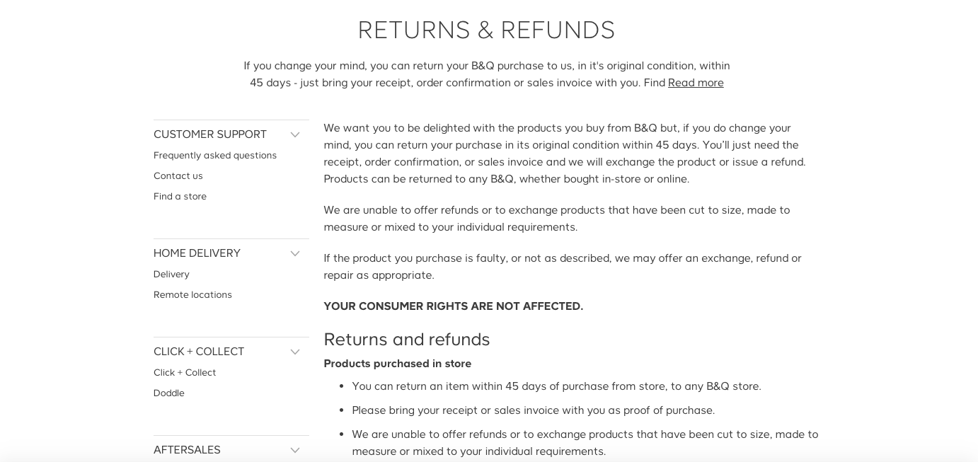 Image showing B&Q's 45-day return policy, one of the best return policies available.