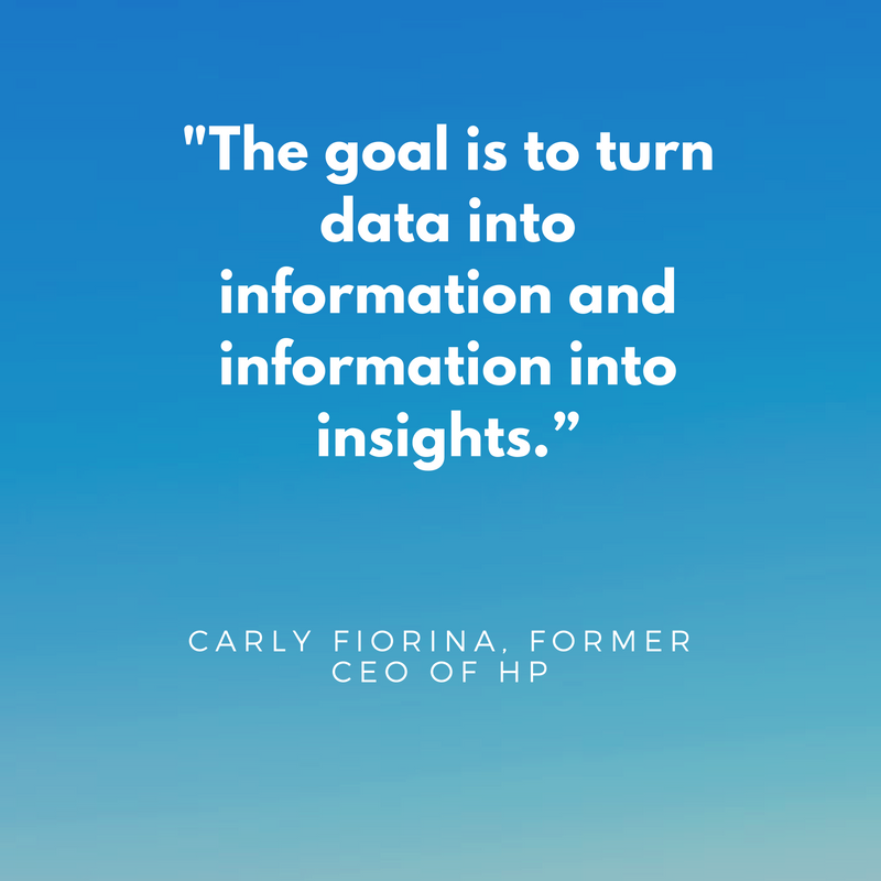 Image showing quote by former HP CEO about how e-commerce statistics should ultimately transform into insights.