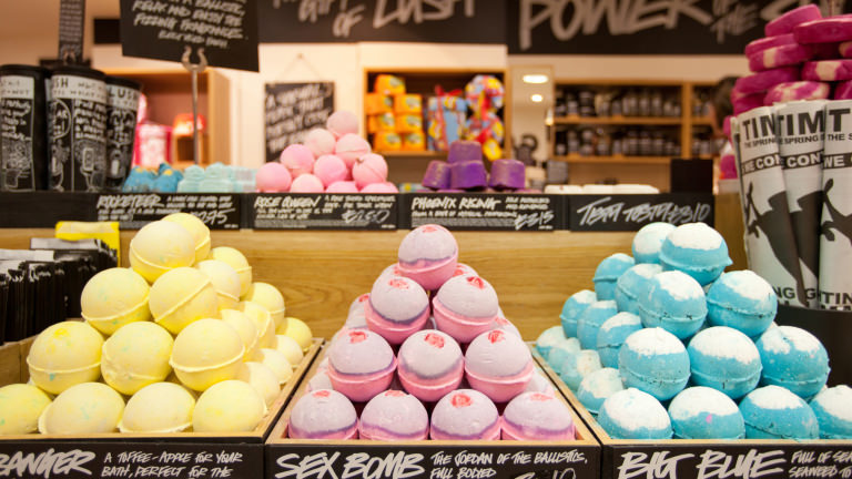 bath bombs piled up in a Lush store