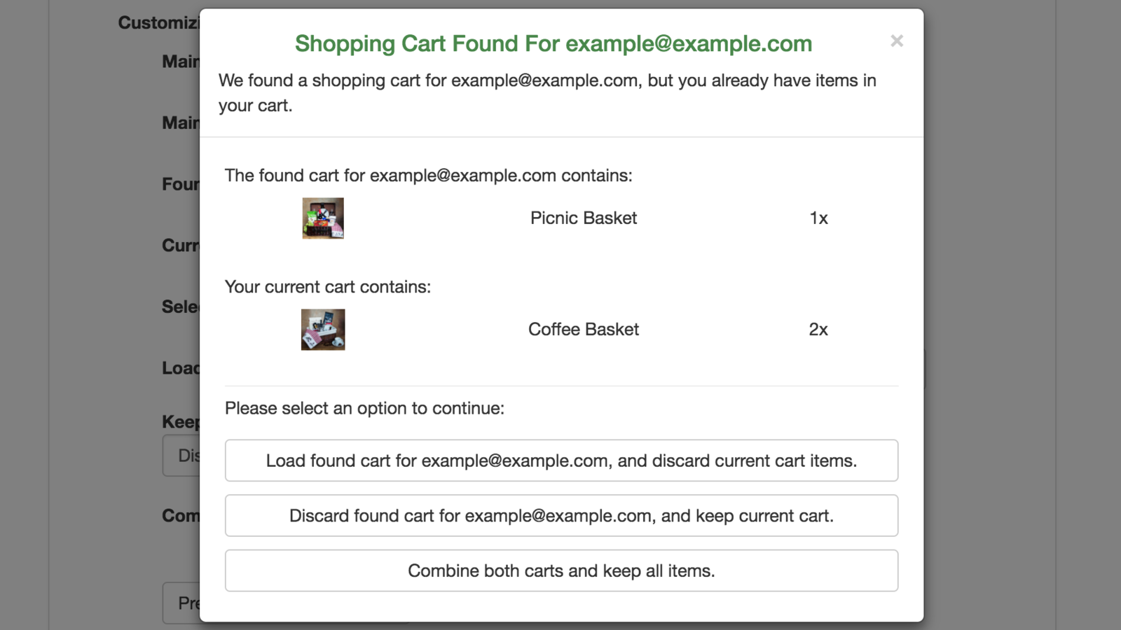 Persistent Cart screenshot