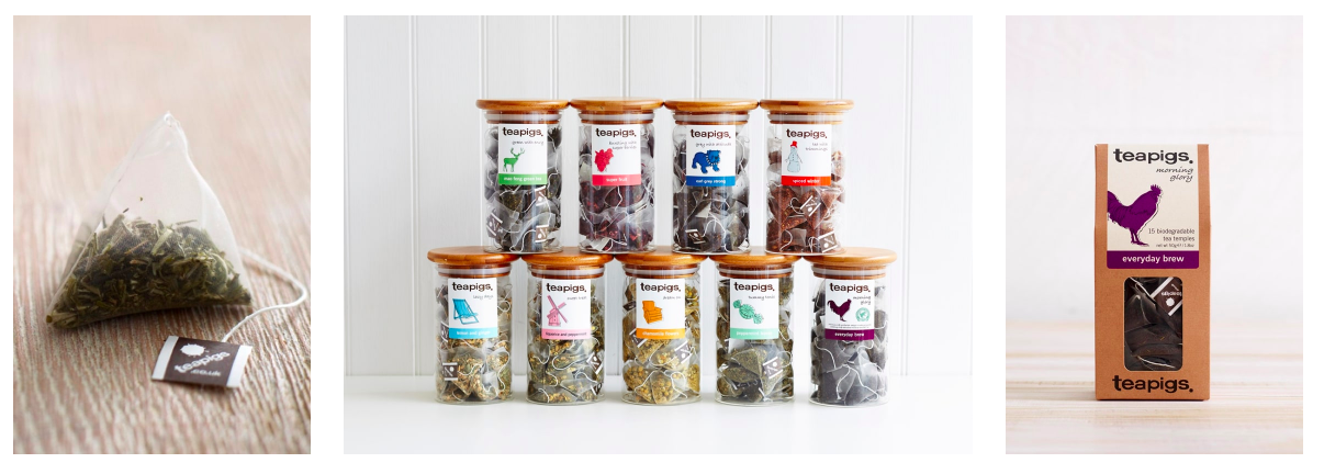 Teapigs products: single tea bag, glass cannister of tea bags and a packet of loose leaf tea.