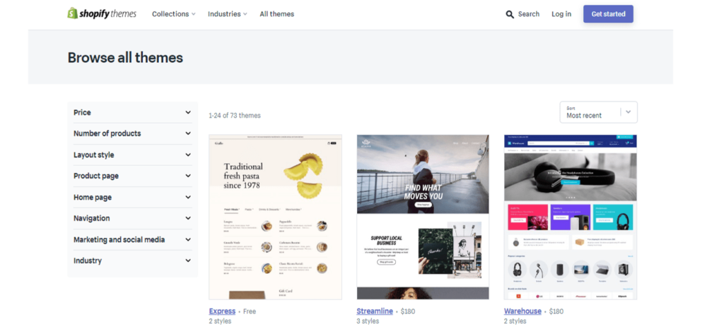 The Shopify Theme Store - you've got 73 options to choose from.