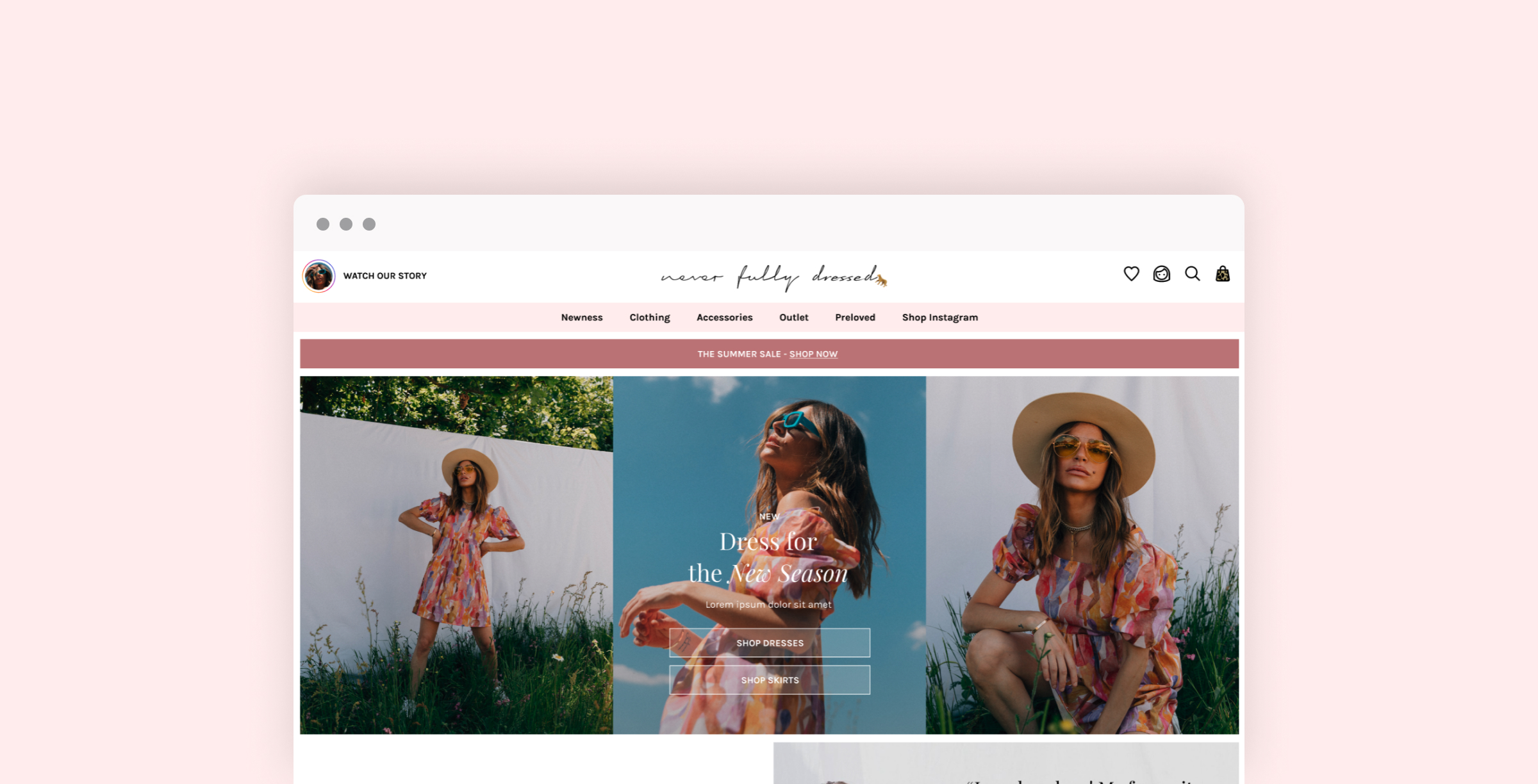 Homepage of the new Never Fully Dressed website