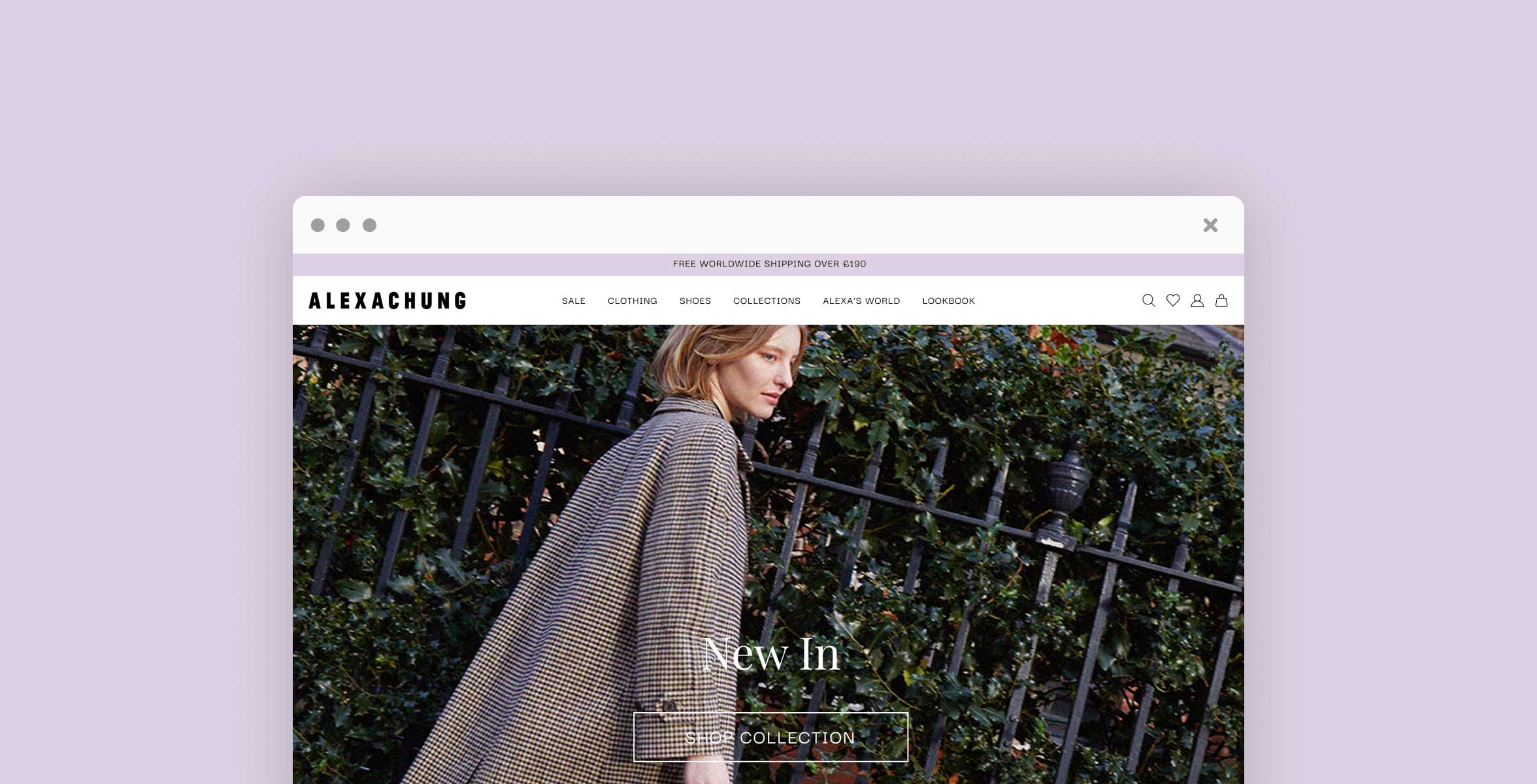 Image of the Alexa Chung website homepage