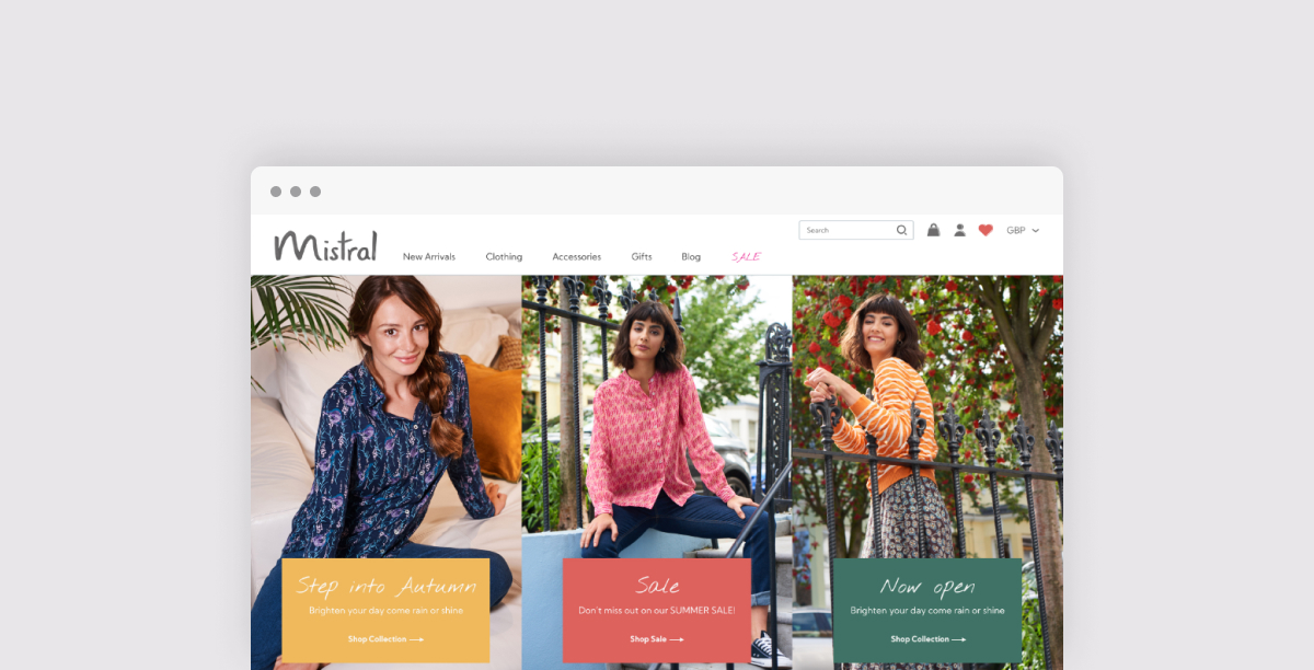 The homepage of the new Mistral Shopify Plus site