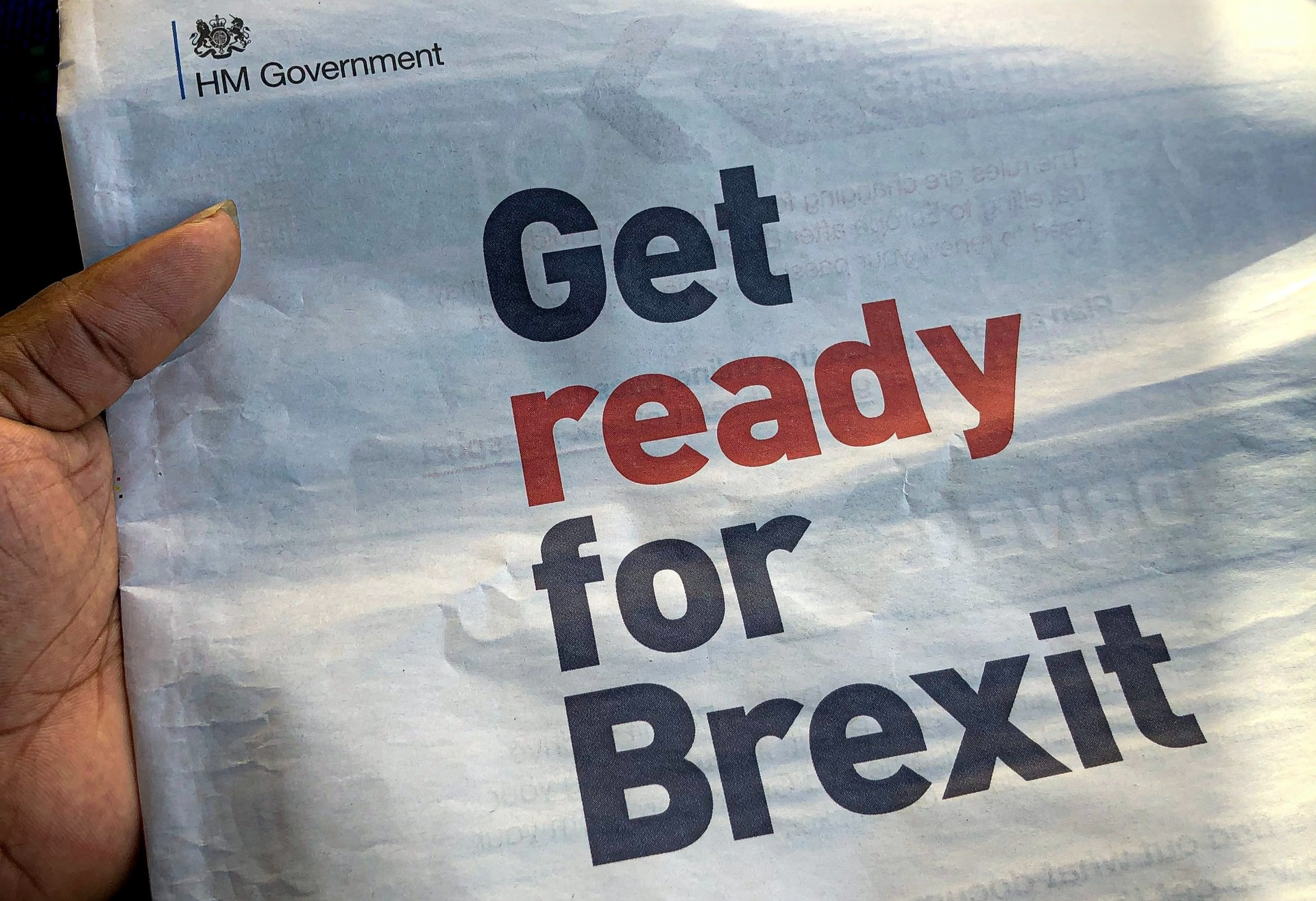 Newspaper with Get Ready For Brexit headline