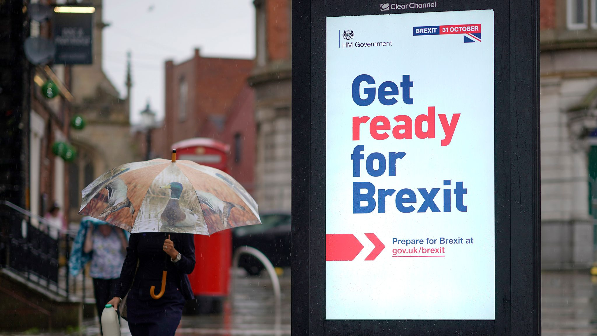 Brexit outdoor advertising banner on a street