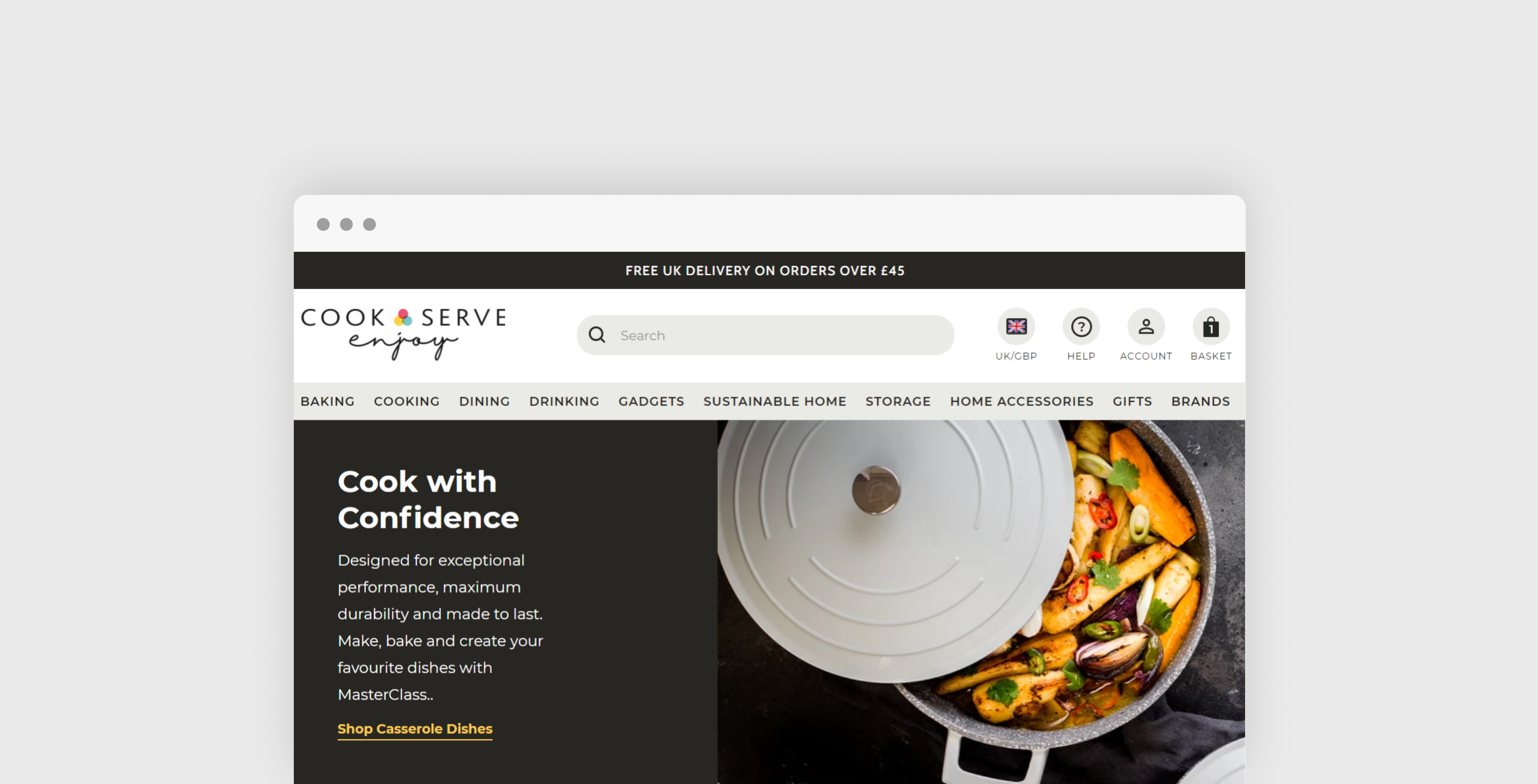 Homepage of Cook Serve Enjoy website