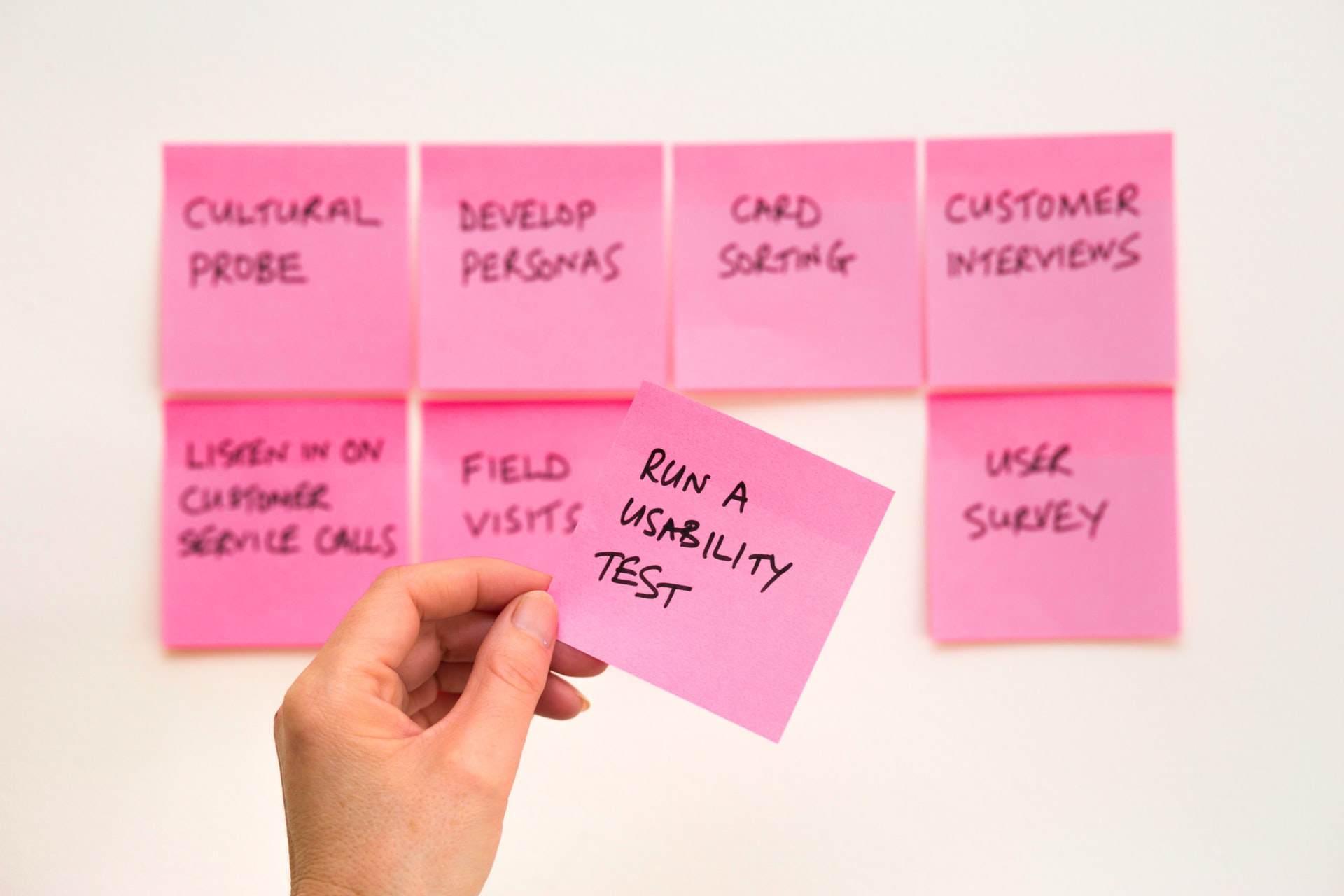 Pink post it notes about optimisation