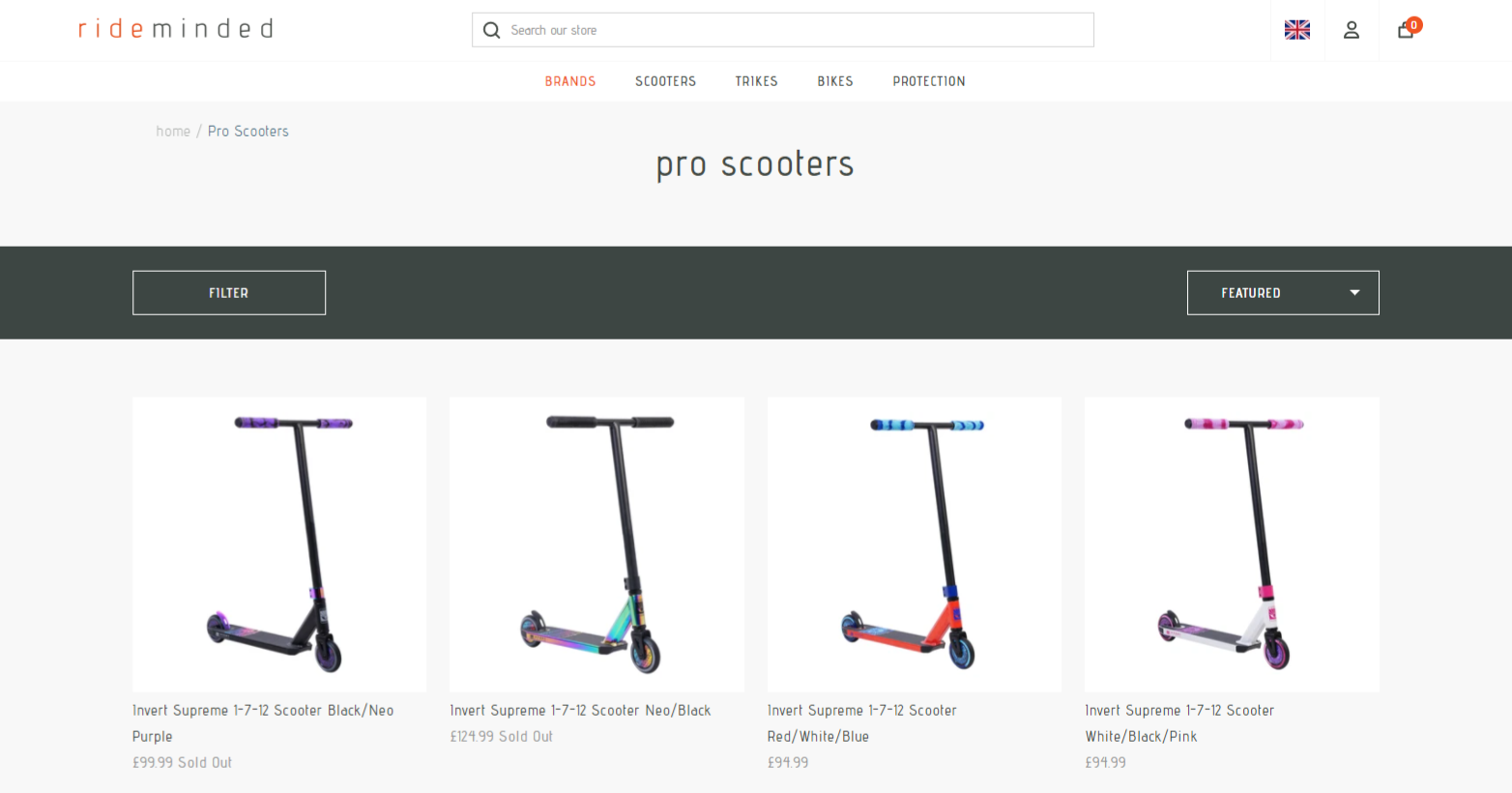 Pro scooters for sale on Rideminded website